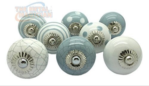 Set of 8 Grey & White Ceramic Door Knobs Vintage Cupboard Drawer Pull Handles by The Metal Magician