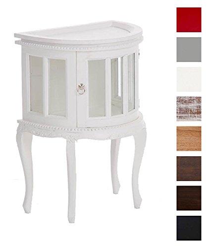 CLP Teetisch - halbrunder Teeschrank für die Wand - 50 x 35 cm, Mahagoni Holz, Höhe 77 cm weiß