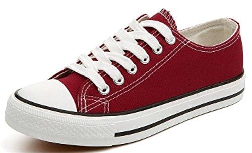 Ace Shock Mujeres Casual Low Top Flat Canvas Zapatos Zapatillas De Moda Dark Red