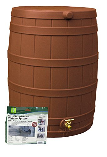 50 Gallon Plastic Barrels (Good Ideas RW50-DIV-TC Rain Wizard Rain Barrel 50-Gallon Diverter Kit, Terra Cotta)