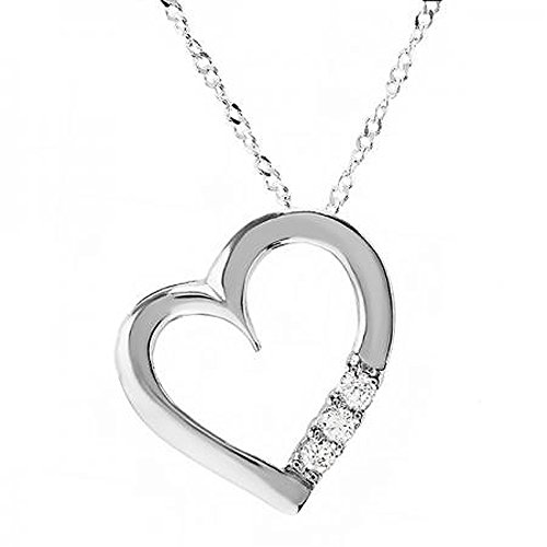Real Heart Gold Diamond (0.15 Carat (ctw) 10K White Gold 3 Stone White Diamond Heart Pendant (Silver Chain Included))