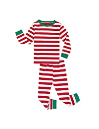 Mombebe Toddler Baby Boys Girls Christmas Pajamas Set Striped Sleepwear