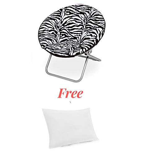 (Soft and Comfortable Plush Saucer Moon Chair (Zebra with Pillow))
