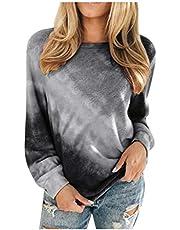 Tie-dye sweatshirt voor dames, gestreept, kleurverloop, print, ronde hals, modieus, casual, lange mouwen, T-shirt, kleurenprint blouses