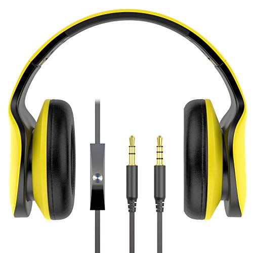 Foldable Headphone with Microphone Over Ear Headphones with Volume Control & Detachable Cables Wired Headset for Smartphones iPad PC Mac and Tablets