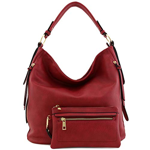 (2pc Set Faux Leather Large Hobo Bag with Pouch Purse Red)