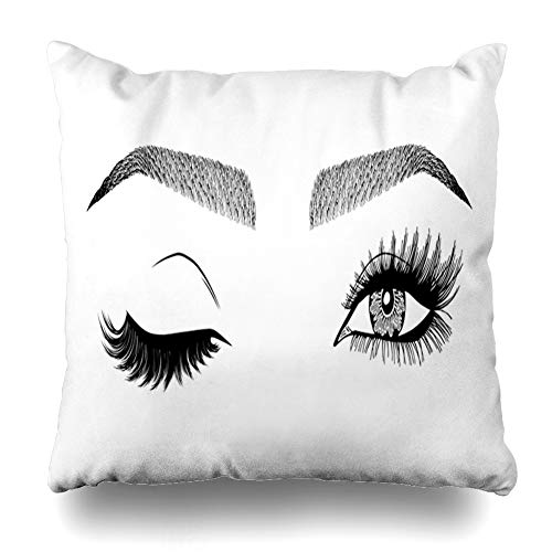 ArTmall Throw Pillow Case Look Eye Wink Eyebrows Eyelashes 39 Makeup Tattoo for Brow Bar Lash Salon Eyelash Design Zippered Pillowcase Square Size 20 x 20 Inches Home Decor Cushion Covers
