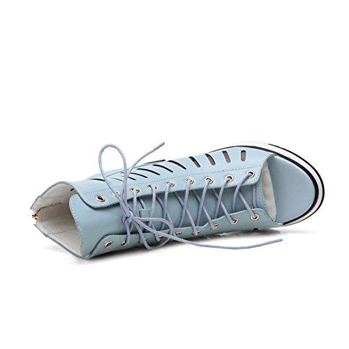 Amoonyfashion Donna Open Toe Tacchi Alti Sandali Con Cerniera Blu