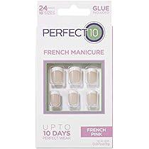 Perfect 10, Uñas Postizas, Manicura Francesa Rosa - Pack de 24 Uñas, 10 Tamaños: Amazon.es: Belleza