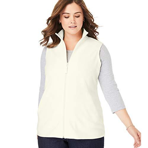 Womens 1 Fleece Vest - Woman Within Women's Plus Size Zip-Front Microfleece Vest - Ivory, 1X