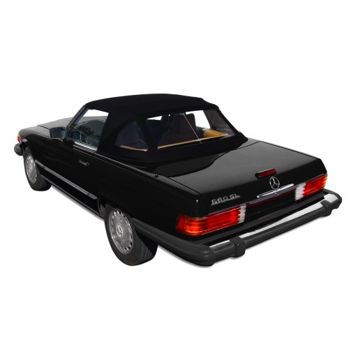 Mercedes Benz SL R107, 1972-1989 Complete Convertible Top with 3 Plastic Windows and Twillfast II Cloth, Black