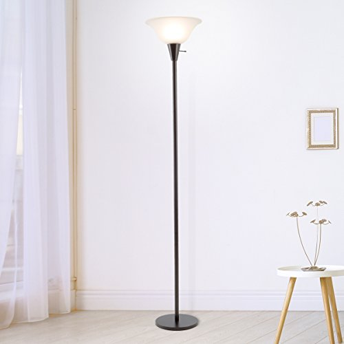 Lavish Home 72-Torch-1 Torchiere Floor Lamp-Standing Light with Sturdy Metal Base and Frosted Glass Shade-Energy Saving LED Bulb Included, Black