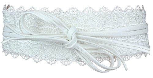 in sintetica banda argento a Flittner pizzo pelle Alex bianco Cravatta in intorno alla con nero oro Designs vita larga grigio 0W6gnW7wx