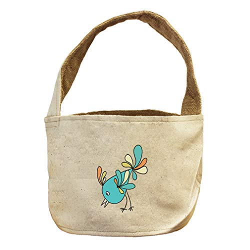 Style in Print Blue Bird Eating from Ground Animals Canvas and Burlap Storage Basket by Style in Print