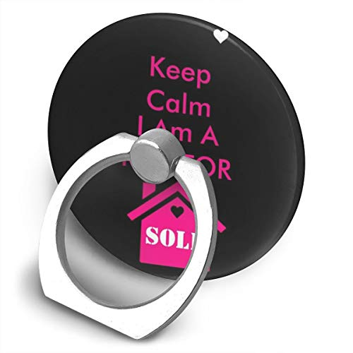 Cell Phone Finger Ring Holder Stand Car Mount Works for Smartphone and Tablet-Keep Calm i am a Realtor Glossy