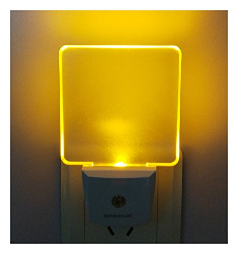 0.5W Plug in Dusk to Dawn Light Sensor Auto on/Off LED Night Light Wall Light 2-Pack Amber/Yellow Glow