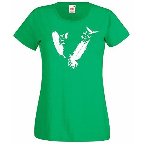 Plumes shirt Aigle Femmes Nib D' Cadeau Modèle Au Vert Oiseaux The T Gratuit Loom Plume Troupeau Hasard Super Avec Of Fruit Premium Oiseau Décalque IqxdwnSF