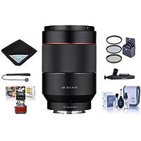 Samyang 35mm f/1.4 Auto Focus Lens for Sony E-mount Nex Series Cameras - Bundle With 67mm Filter kit, Lens Wrap, Cleaning Kit, Capleash II, Lenspen Lens Cleaner, Mac Software Package