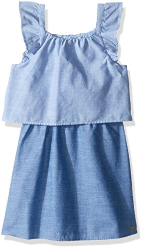Tiered Flutter Sleeve (Tommy Hilfiger Little Girls' Two Tone Tiered Chambray Dress, Blue Haze, 4)