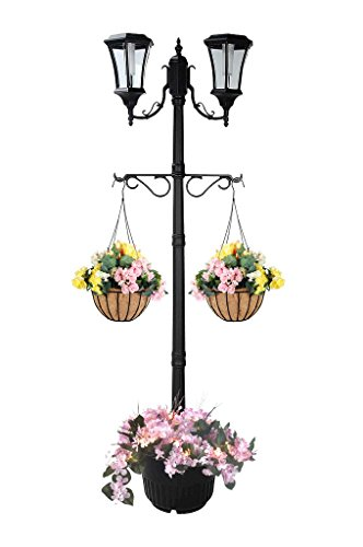 7.25 ft (87 in) Tall Solar Lamp Post w/ Plant Hangers-2 Heads, White LEDs, Black Product SKU: SO30357 Review