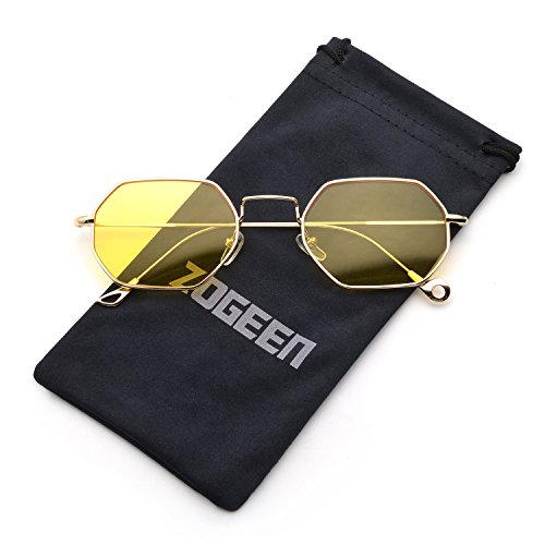 ZOGEEN Men Women Sunglasses Small Metal Frame Asymmetry Temple Z674 - What Oval Glasses For Face