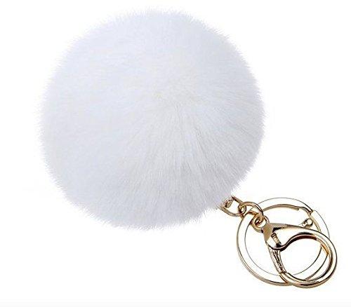 White Rabbit Bag (Real Rabbit Fur Pom Pom Keychain & Bag Charm (White))