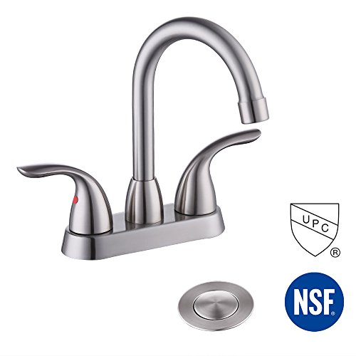 Kes LEAD-FREE UPC BRASS Two Handle Bathroom Faucet with Drain Assembly Lavatory Vanity Sink Faucet 4-Inch Centerset Morden Square Hotel Style Brushed Nickel, (Style Centerset Faucet)