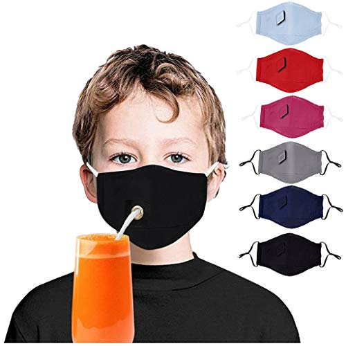 6pcs Unisex Drink Face Cloth with Hole for Straw,Washable Reusable Face Cotton for kids Women Men, Adjustable (Multicolored) (6pcs Kids Multicolored)