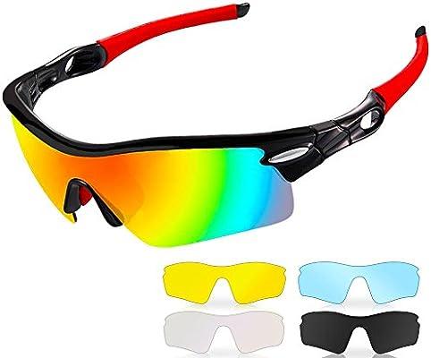 6dc23c3e11c0 Occhiali da Sole Sportivi Polarizzati,CrazyFire Anti-UV 400 Protezione  Ciclismo Occhiali da Sole con 5 Lenti Intercambiabili,Uomo e Donna  Antivento Aviatore ...