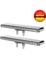 """Partsam 2Pcs 12"""" Clear Lens Red / Amber LED Combo Dual Face Truck Semi Trailer Light Bars 20LED Waterproof w Double Studs Sealed Trailer Led Pedestal Turn Signal Stop Tail Marker Clearance Lights"""