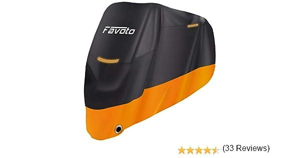 Favoto Funda para Moto 210D Cubierta de Motocicleta Protector Poli/éster Resistente al Agua a Prueba de UV Lluvia Polvo Viento Nieve Excremento de P/ájaro XXL 245cm Negro Naranja
