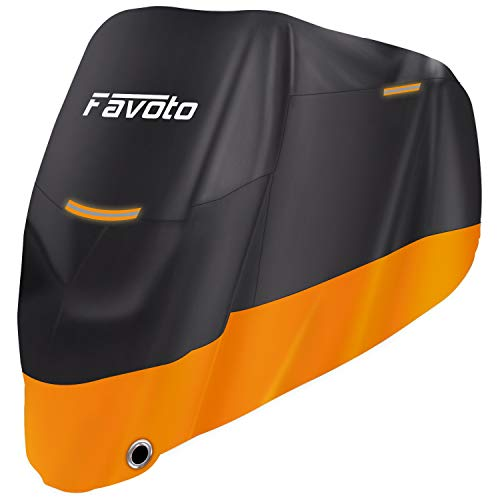 """Favoto Motorcycle Cover All Season Universal Weather 210D Premium Quality Waterproof Outdoor Durable Night Reflective with Lock-Holes & Storage Bag Fits up to 104"""" Motorcycle Vehicle ()"""