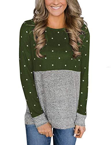 (Top Take Womens Polka Dot T-Shirts Long Sleeve Crew Neck Winter Sweaters Tops Green)