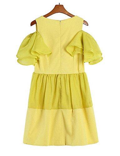 PU&PU Robe Aux femmes Ample Simple,Couleur Pleine Col Arrondi Au dessus du genou Polyester , yellow-l , yellow-l