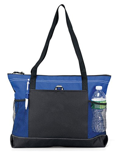 Gemline Shoulder Straps Front Pocket Zippered Tote Bag -  1100