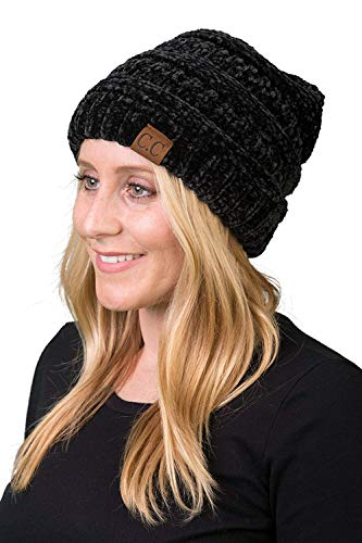 Funky Junque H-6020a-3006 Solid Ribbed Beanie - Chenille Black