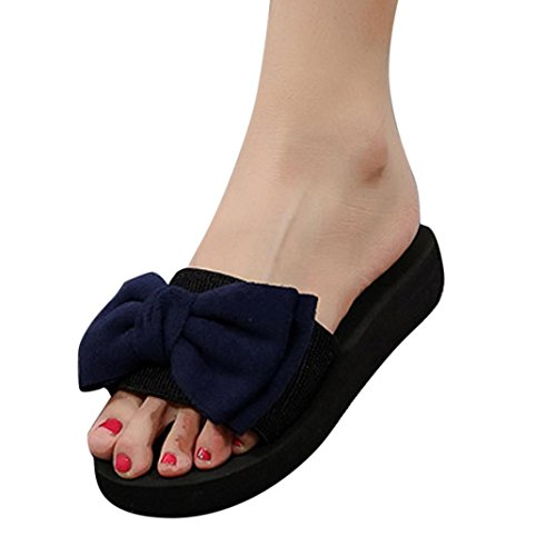 夏シューズ、aimtoppyレディースbutterfly-knotレジャーサンダルラウンドトウアウトドアフリップフロップビーチ靴 US:6 ブルー AIMTOPPY