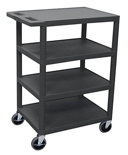 "Luxor BC45-B 4 Flat Shelf Structural Foam Plastic Cart Black 24""W x 18""D x 39""H"
