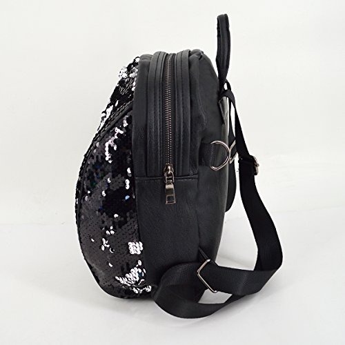Rucksack Girls Bling C Shoulder AiSi School Bag black Travel Backpack Glitter Sequins 4Cdqw0