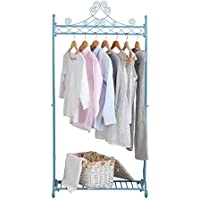 NEUN WELTEN Solo Hanging Clothes Rail - Shabby Chic Bedroom Furniture for Clothing Racks (Blue)