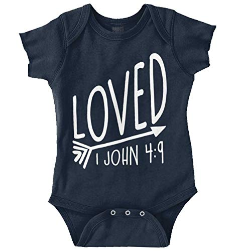 Brisco Brands Loved Bible Verse Christian New Baby Gift Romper Bodysuit Navy