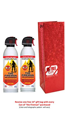 Mold Monster The Fireman- Multi Purpose Fire Suppression Aerosol Spray for Home Safety- Fights All 4 Common Fires: Class A,B,C & K - 18 oz Each Can Comes with Gift Bag at No Cost (2 Pack) by Home First
