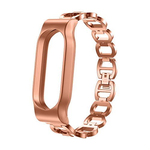 Price comparison product image MChoiceStainless Steel Chain Style Bracelet Smart Watch Band Strap for Xiaomi Mi Band 2 (Rose Gold)