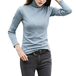 Women's Long Sleeve High Turtle Neck Top...