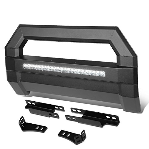 For Chevy Colorado/GMC Canyon Square Tube Lightweight Bull Bar w/LED Light+License Plate Relocation Kit (Black) ()