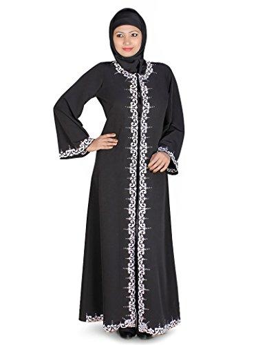 nero anteriore in Jilbab aperto Delle donne MyBatua elegante 0Tw4Tq