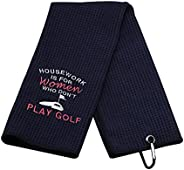 Funny Golf Towels for Women Housework is for Women Who Don't Play Golf Embroidered Golf Towels for Golf Ba