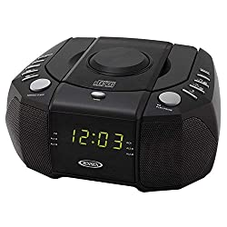 Jensen Compact Dual Alarm Clock Radio with Top-Loading CD Player & Large Easy to Read Backlit Display