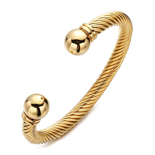 - FEEL STYLE Twisted Cable Wire Cuff Bracelet - Designer Inspired Antique Women Jewelry Elegant Bangle Bracelets for Father Christmas Day Gifts