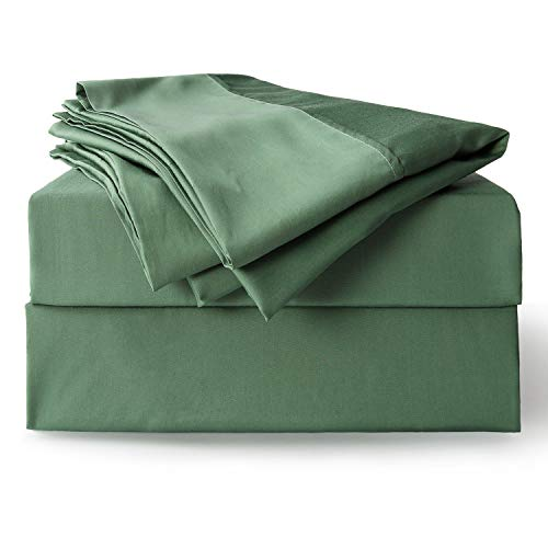 Bedsure Bamboo Sheet Set Twin XL Size Green 100% Bamboo Viscose Bed Linen Deep Pocket Sheets Pillowcases